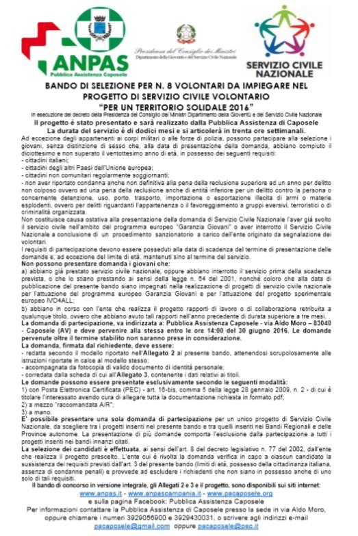 BANDO DI SELEZIONE PER N 8 volonatri Pacaposele
